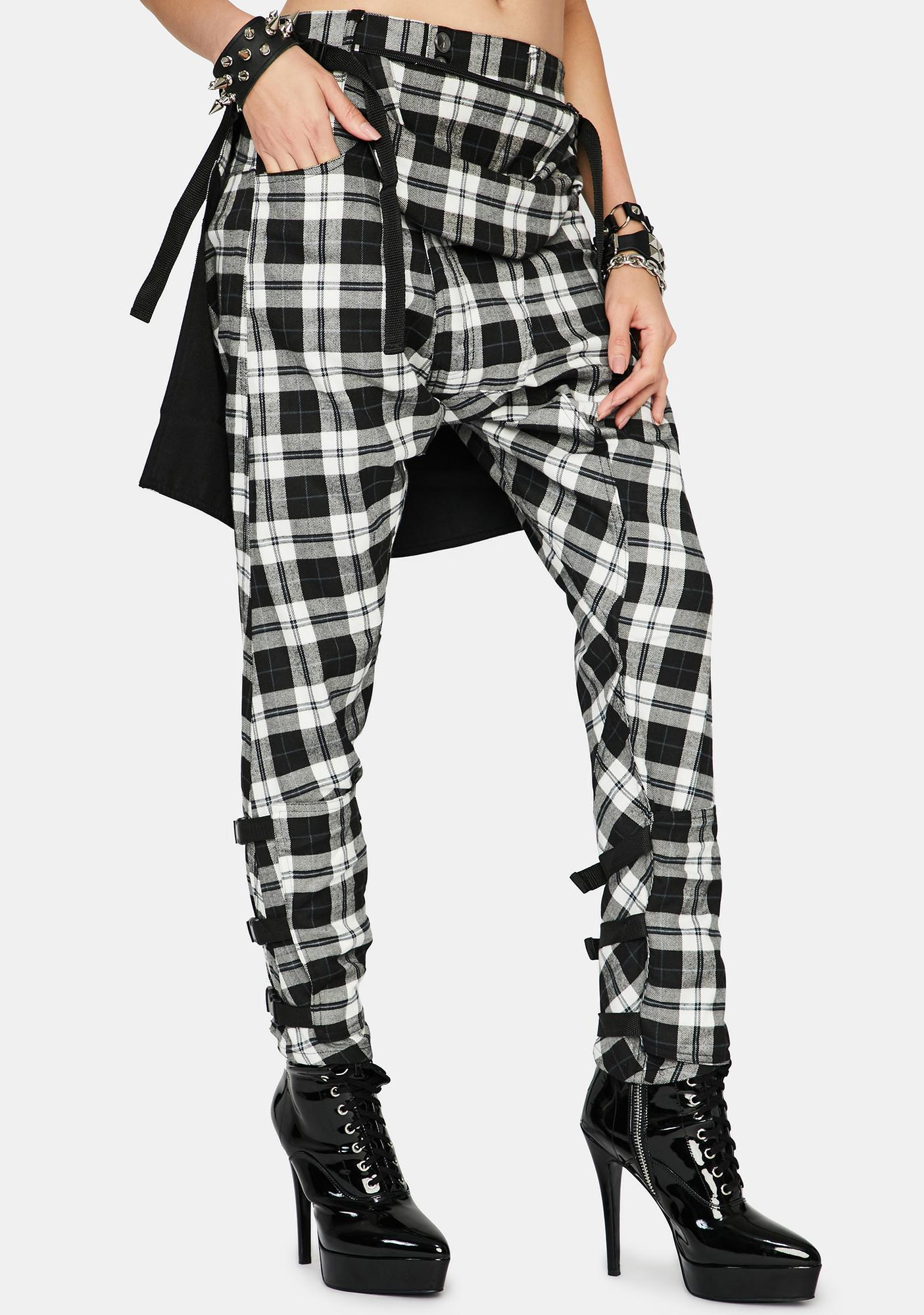 Long Clothing Plaid Drop Crotch Pants