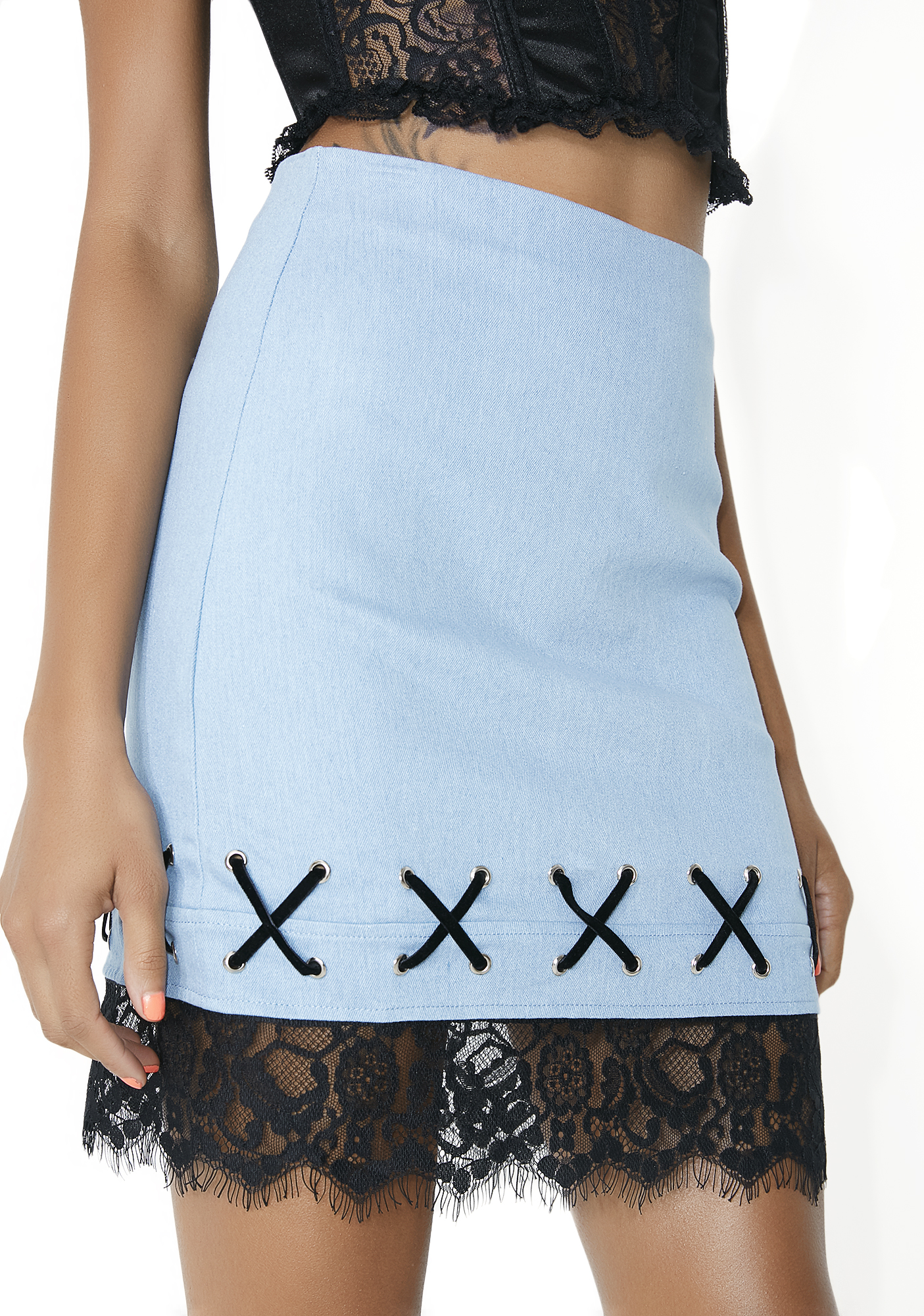 Lace-Trim Blue Bodycon Skirt