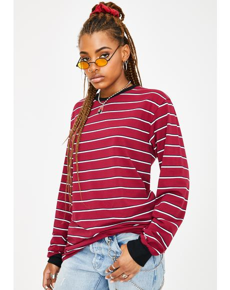 Wine Playin' Hooky Striped Top