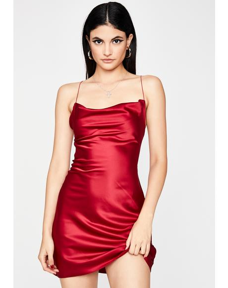 Crimson Evening Appeal Satin Dress