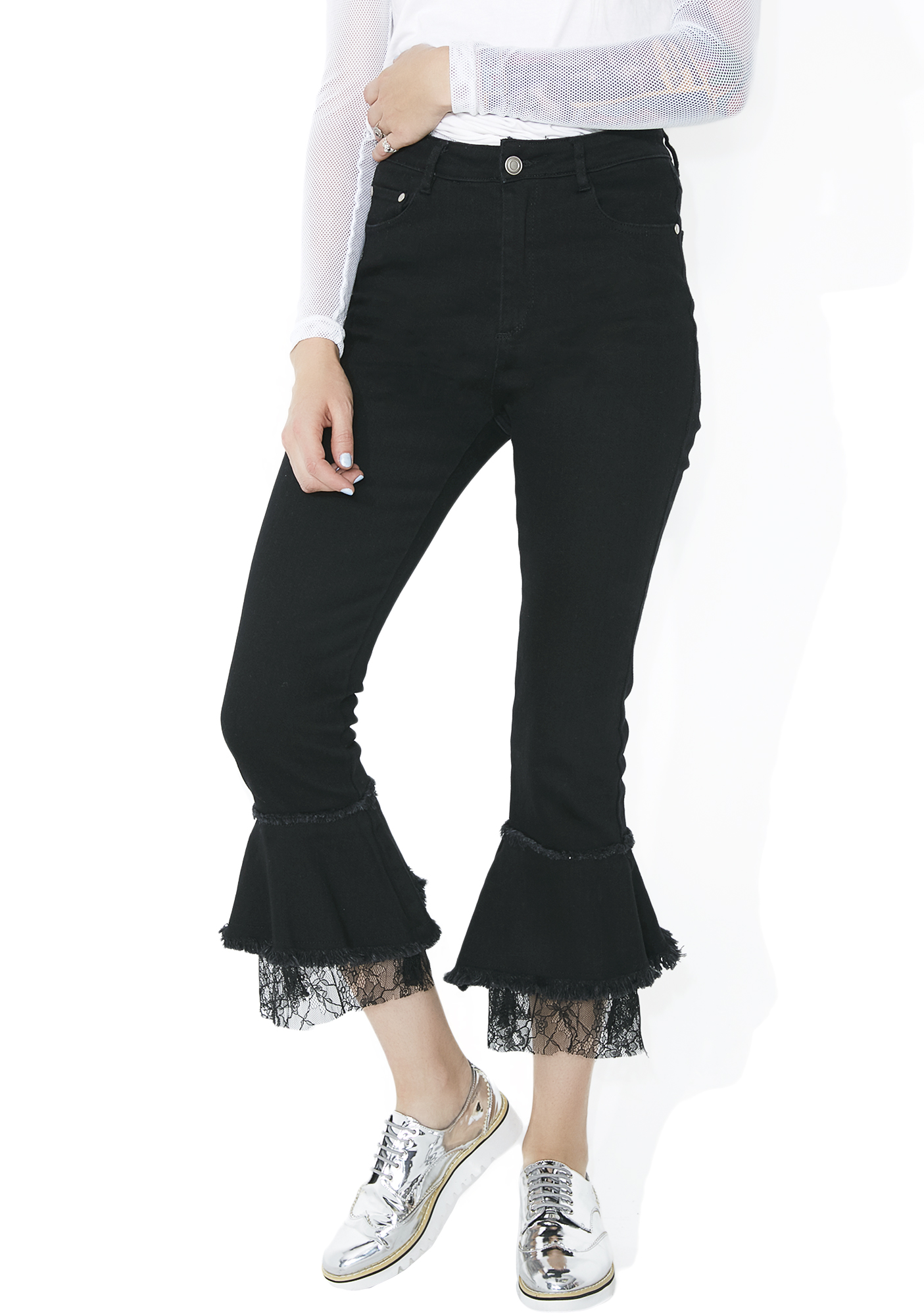 Black Cropped Lace Ruffle Jeans