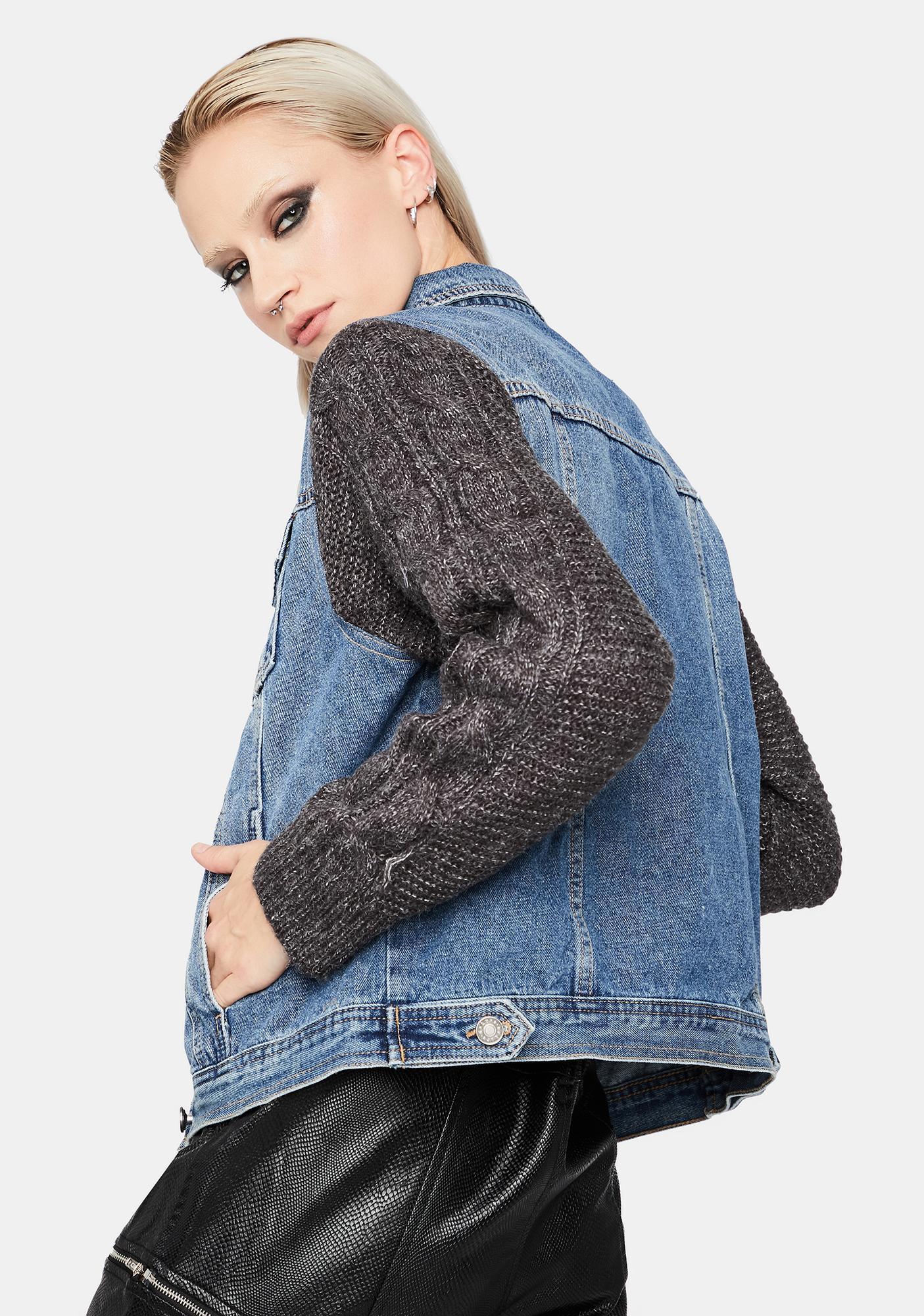 No Worries Knit Sleeve Denim Jacket