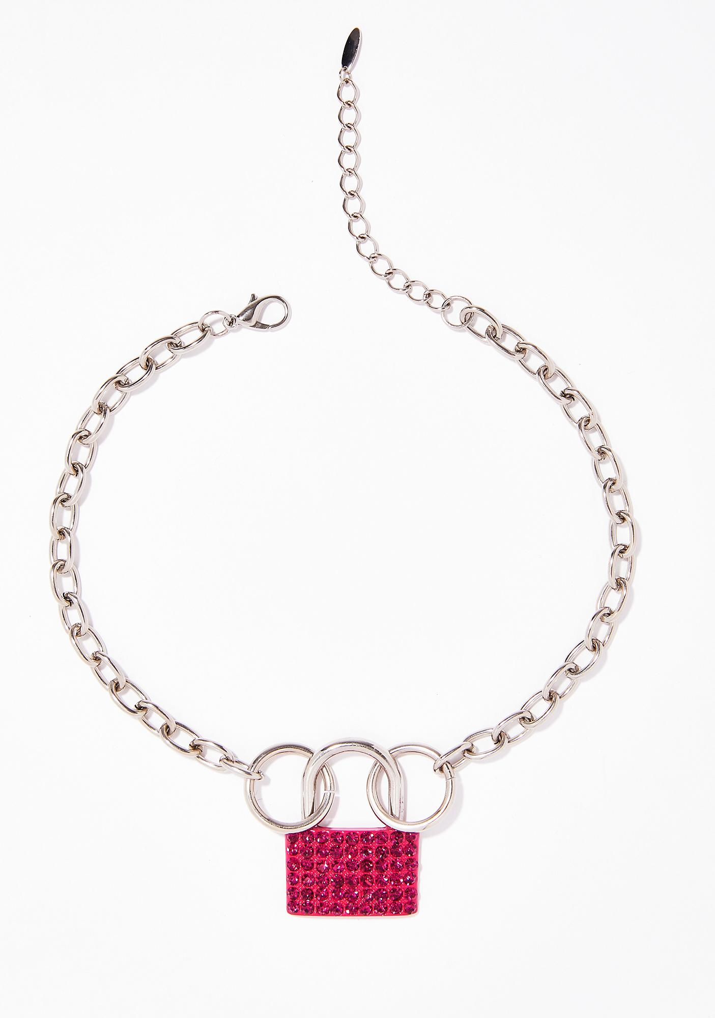 Crystal Heart Lock Necklace