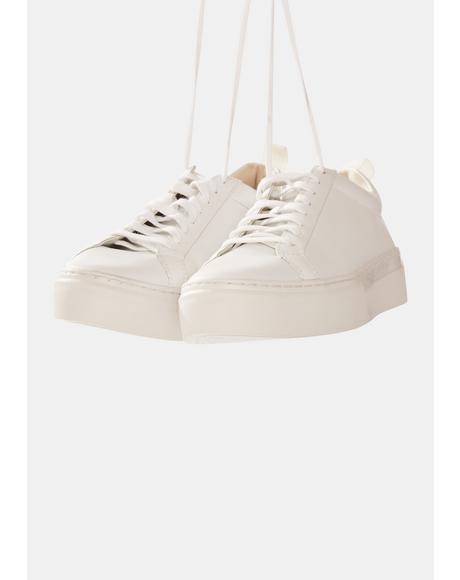 White Zoe Leather Platform Sneakers