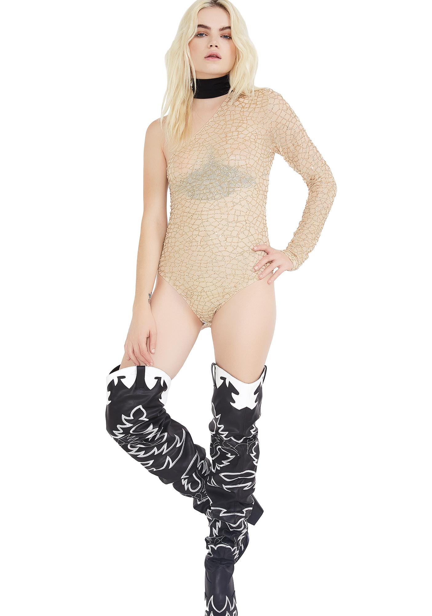 Jaded London Glitter Mesh One Sleeve Bodysuit