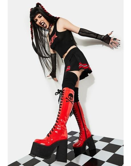 Famous Last Words Patent Knee High Boots