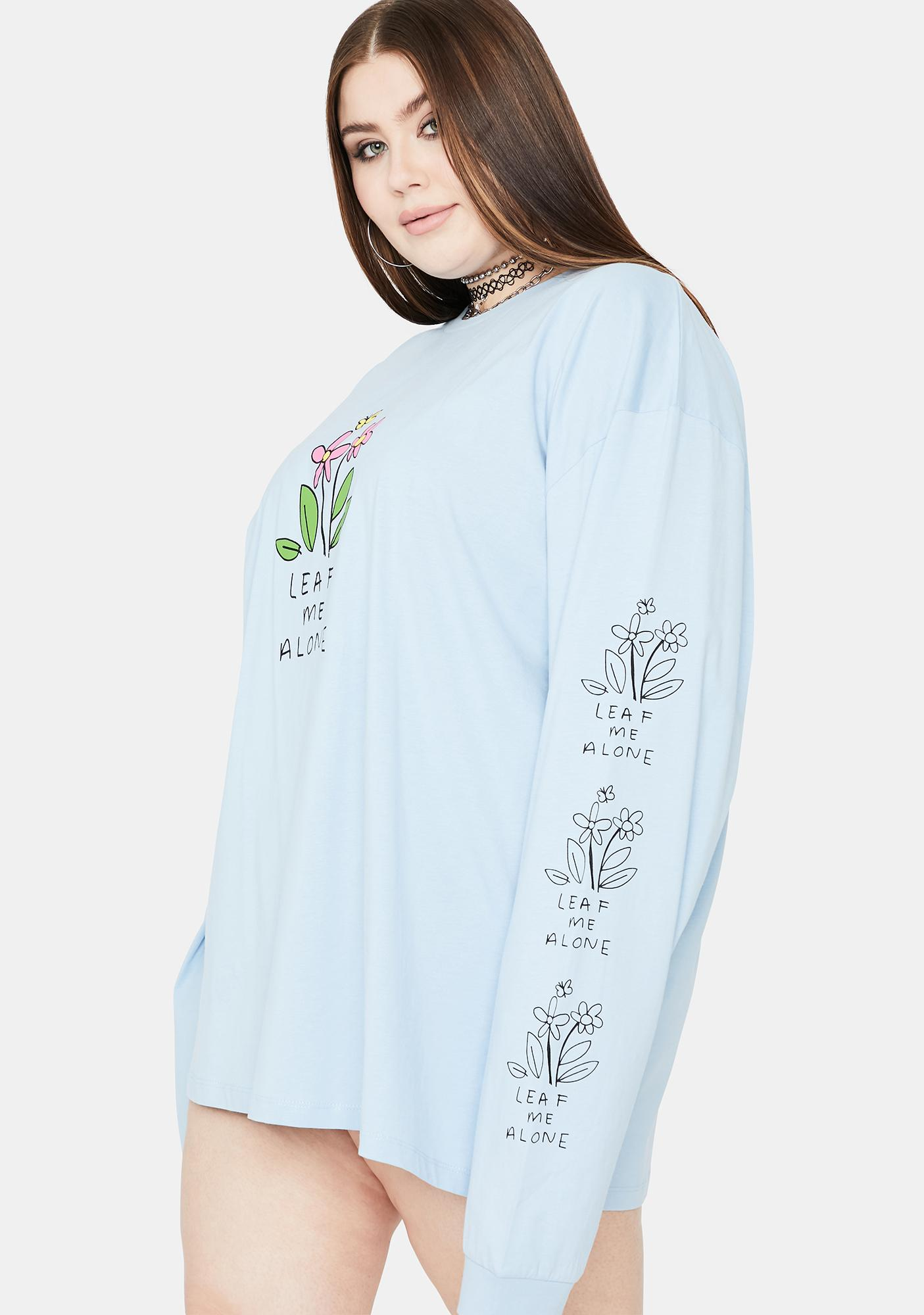 NEW GIRL ORDER Blue Curve Leaf Me Alone Graphic Tee