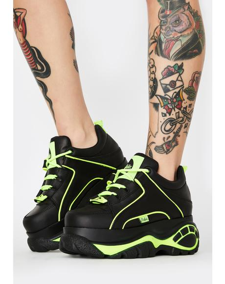Black Neon Classic Low Leather Sneakers