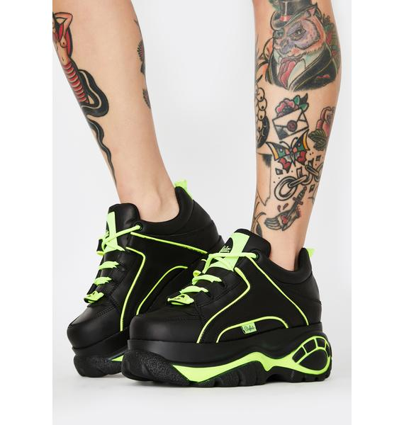 Buffalo London Black Neon Classic Low Leather Sneakers