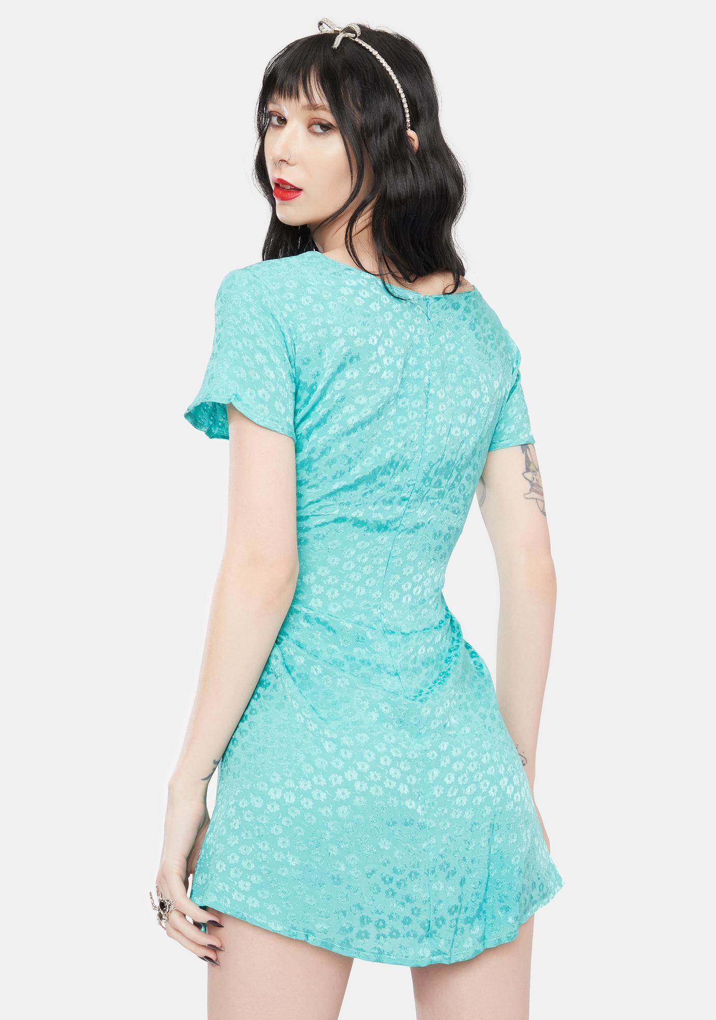 Motel Turquoise Floral Elara Mini Dress