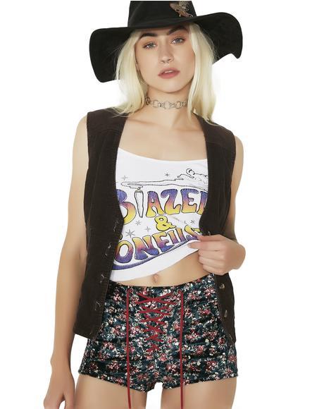 Caldonia Velvet Lace-Up Shorts