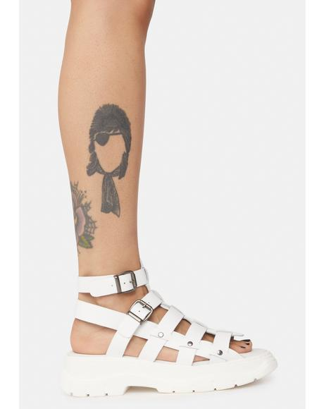 White Gia Gladiator Sandals