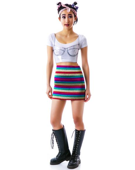 Rainbow Brite Banded Skirt