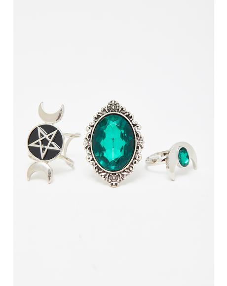 Emerald Devotion Ring Set