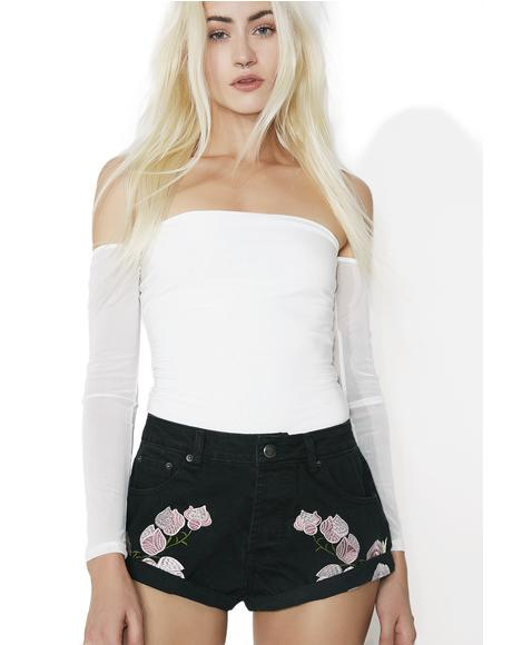 Peony Princess Floral Embroidered Shorts
