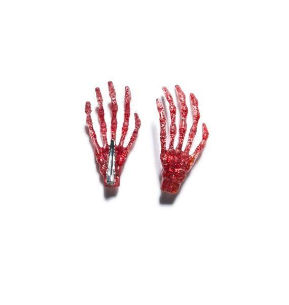 Kreepsville 666 Skeleton Bone Hands Hair Slides