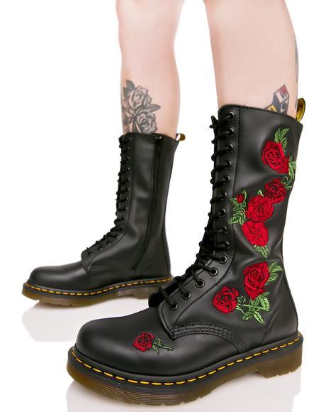 Vonda Embroidered 14 Eye Boots