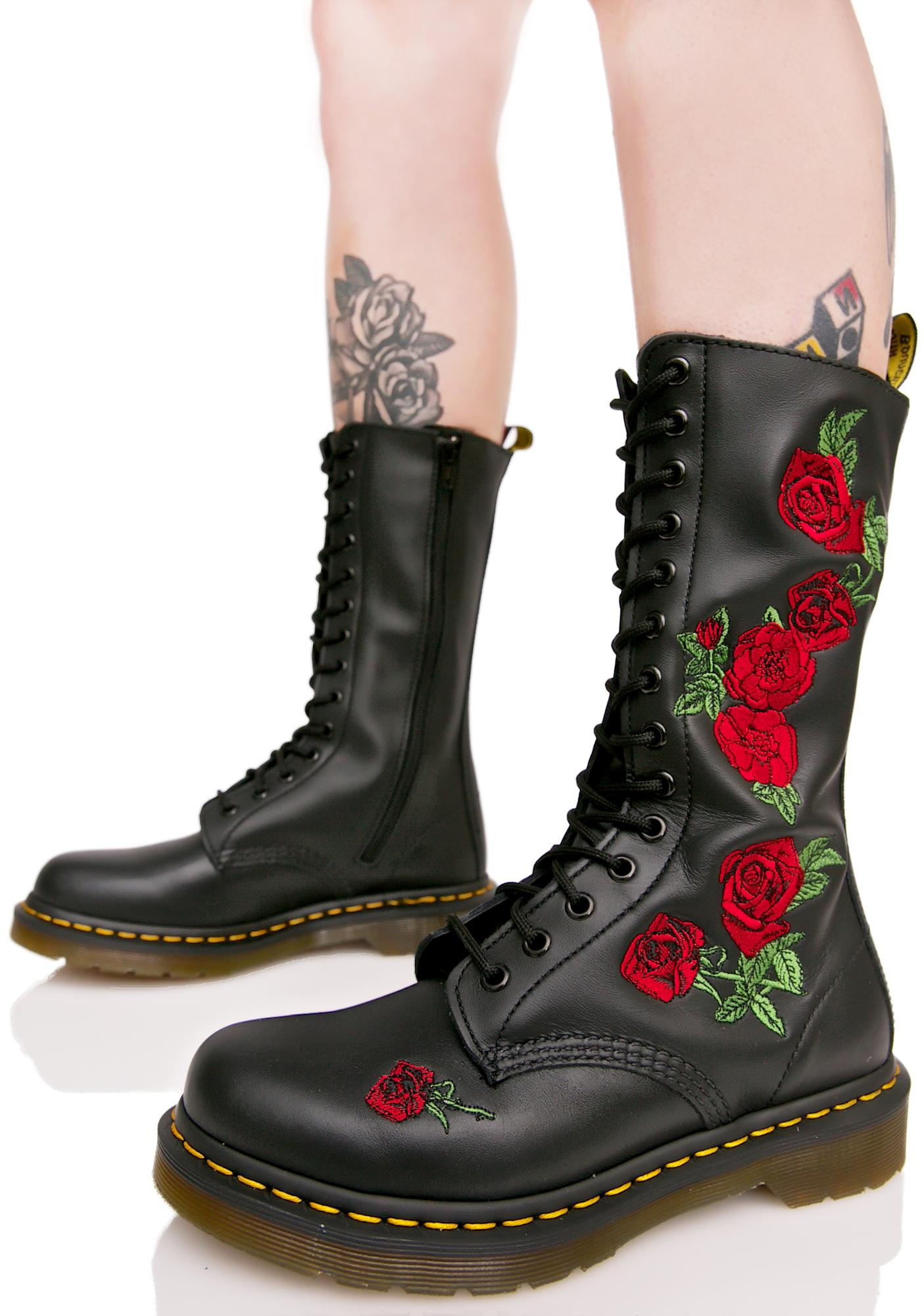 Dr. Martens Vonda Embroidered 14 Eye Boots  fdd83f00b654