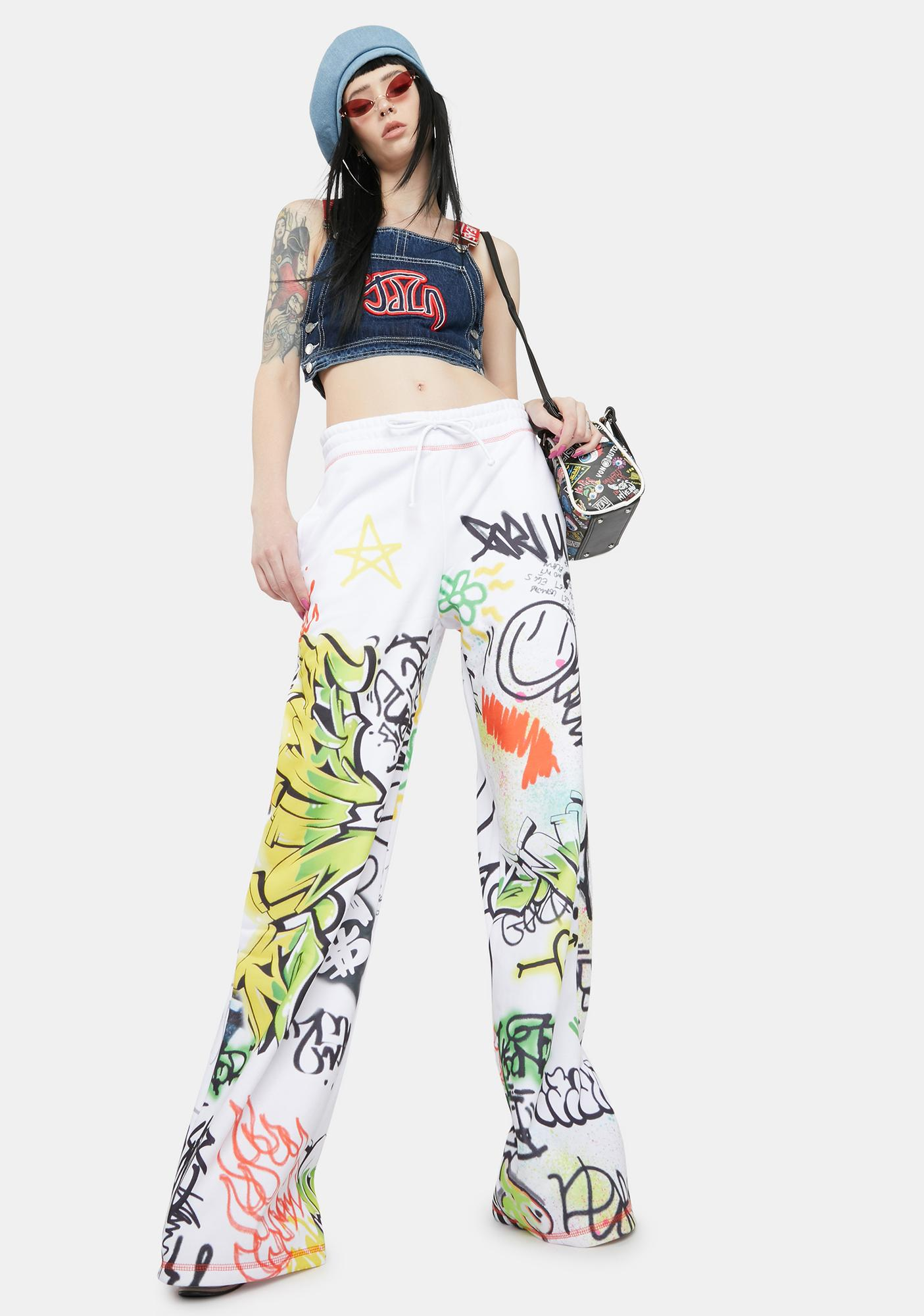 Jaded London Doodle Graffiti Print Wide Leg Sweatpants