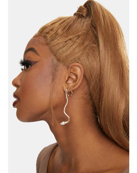 Golden Vixen Venom Rhinestone Snake Earrings