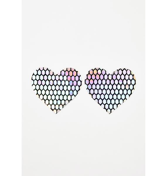 Neva Nude Mirrored Holographic Heart Pasties