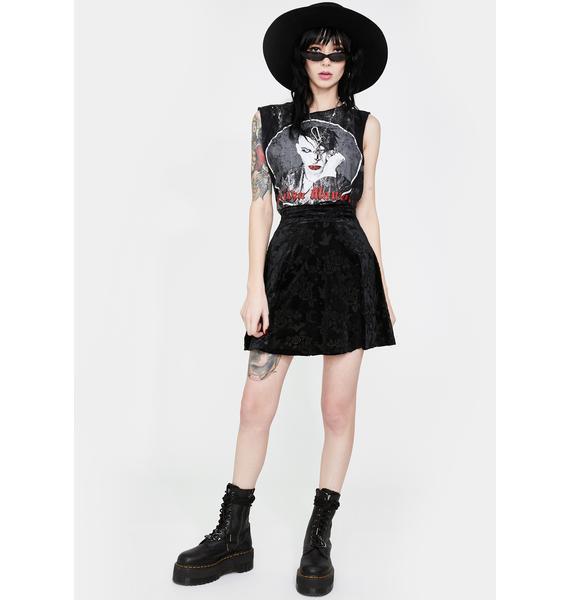 Killstar Crescent Nights Velvet Skater Skirt
