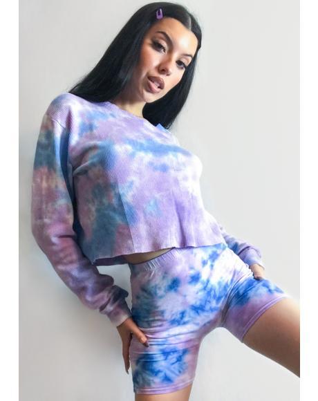 Pastel Tie Dye Aria Biker Shorts