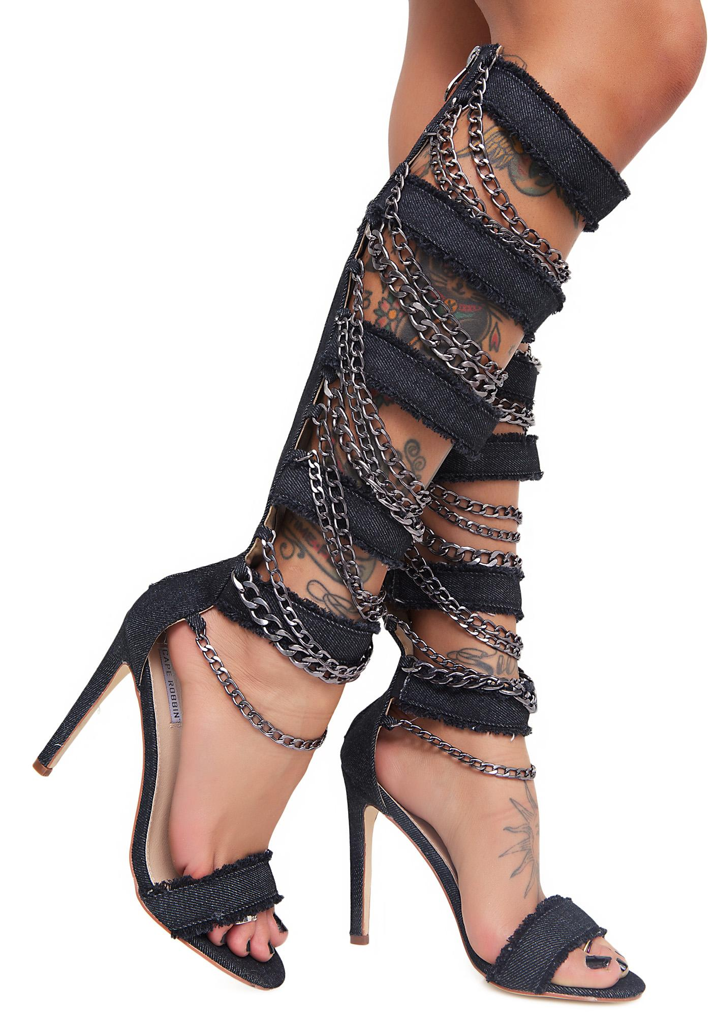 Ego Boost Strappy Knee High Heels