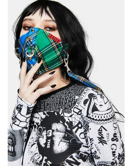 Blue Green Plaid Split Studs Face Mask