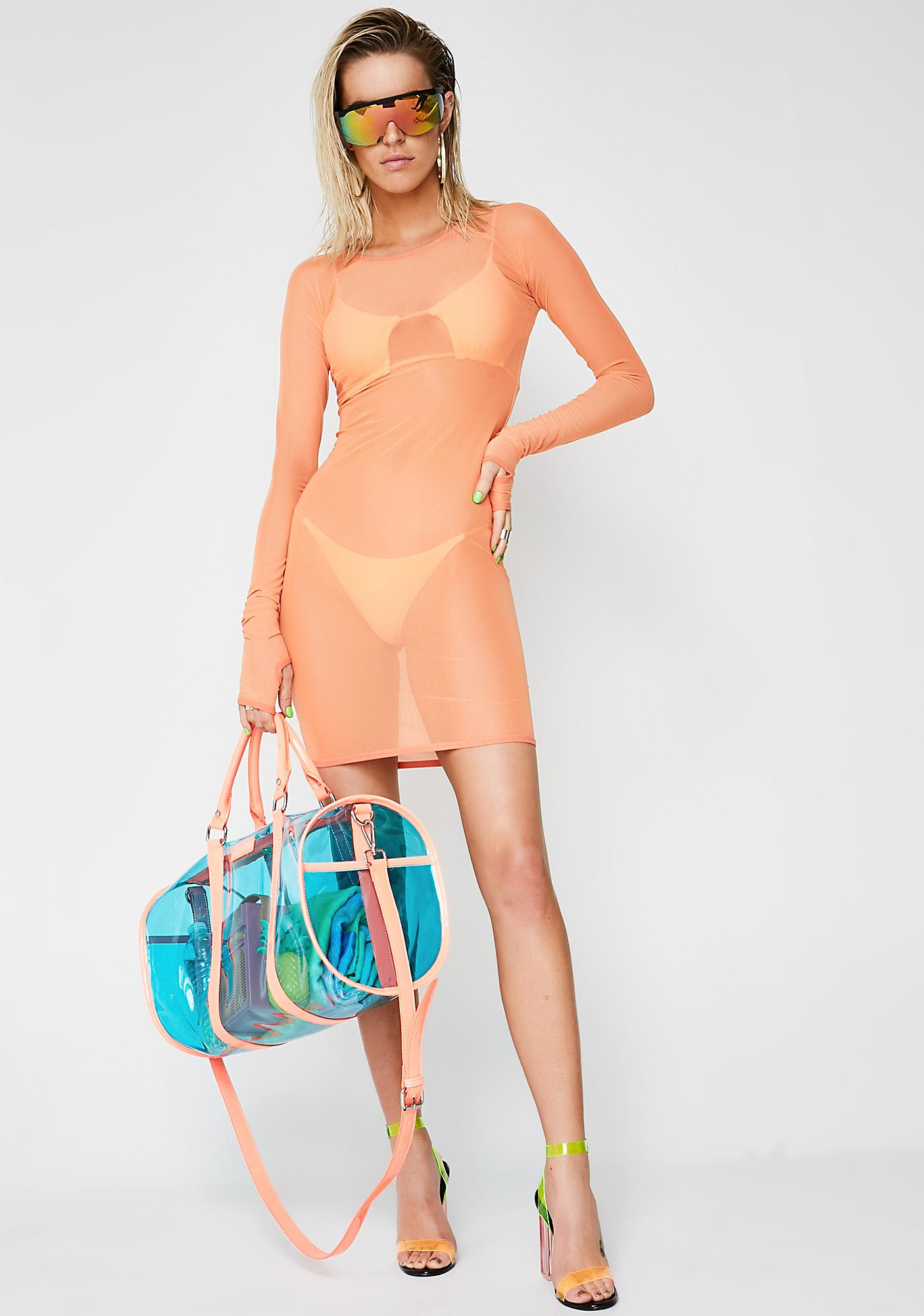 Current Mood Feelin' Peachy Mesh Dress