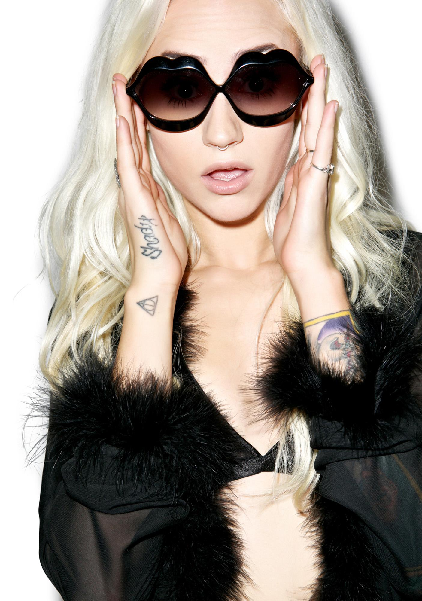 Wildfox Couture Black Lip Service Sunglasses