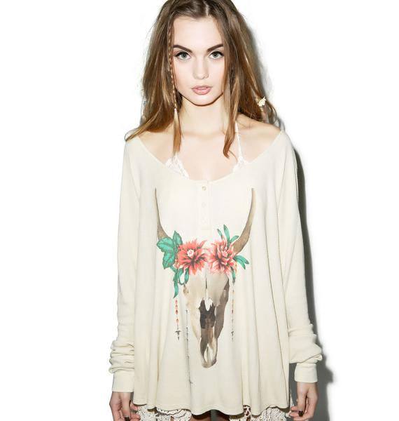 Wildfox Couture Desert Dahlia Lagoon Henley Long-Sleeve Thermal