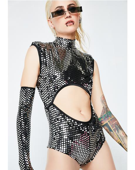 Disco Queen Cutout Mirrored Bodysuit