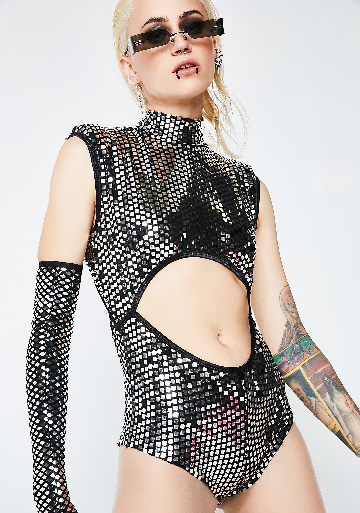 Club Exx Disco Queen Cutout Mirrored Bodysuit