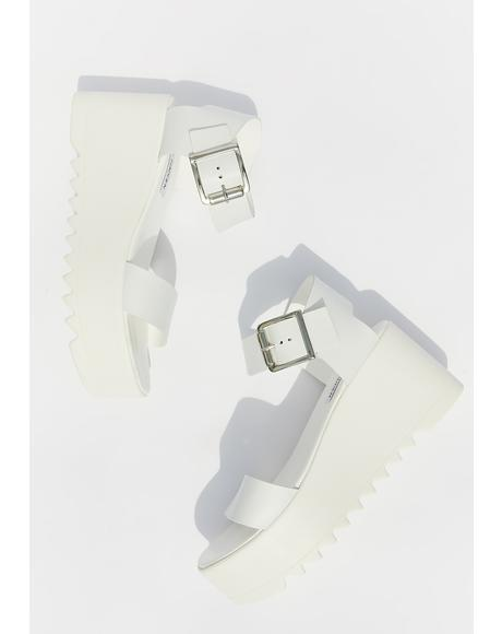 White Leather Lake Platform Sandals