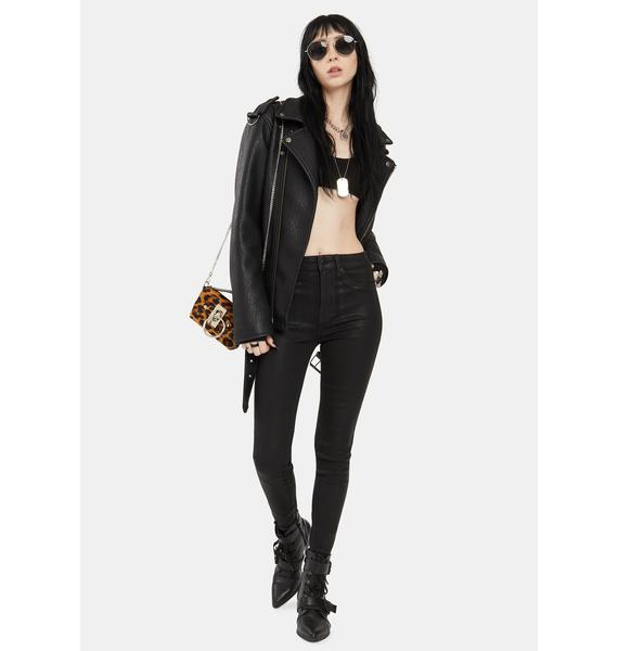 Pistola Coated Black Aline High Rise Skinny Jeans