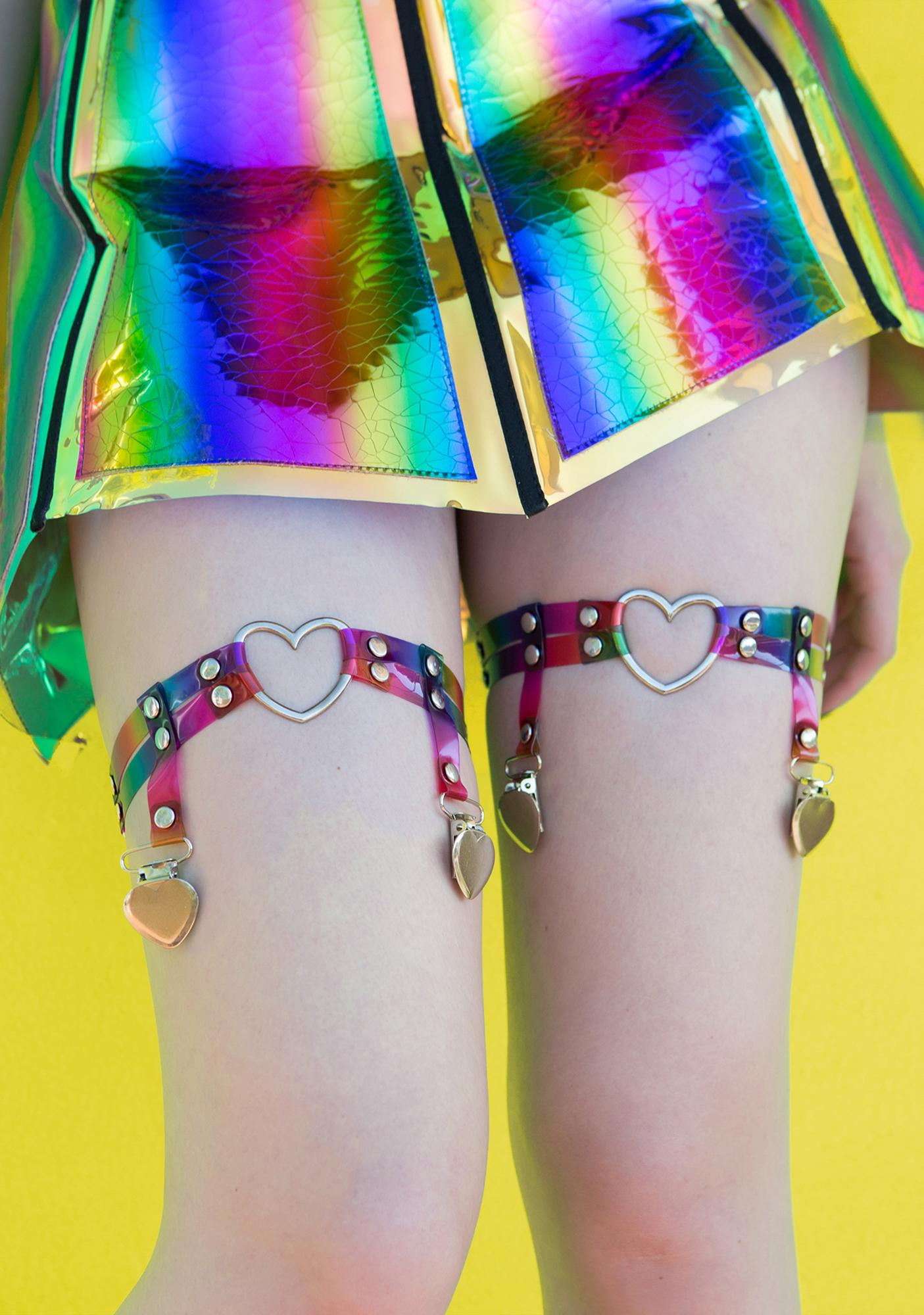 Prismatic Love Heart Garters