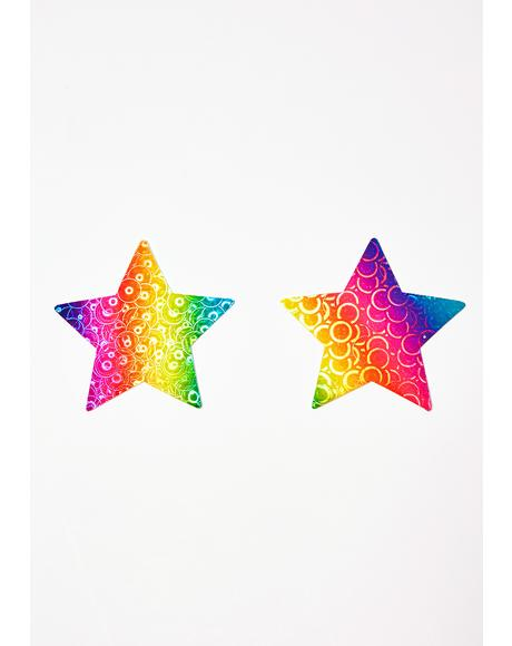 Rainbow Pumping Star Pasties