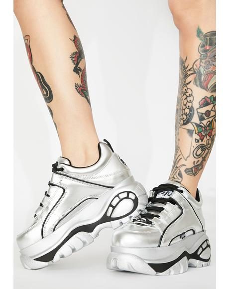 Silver Metallic Classic Low Leather Sneakers