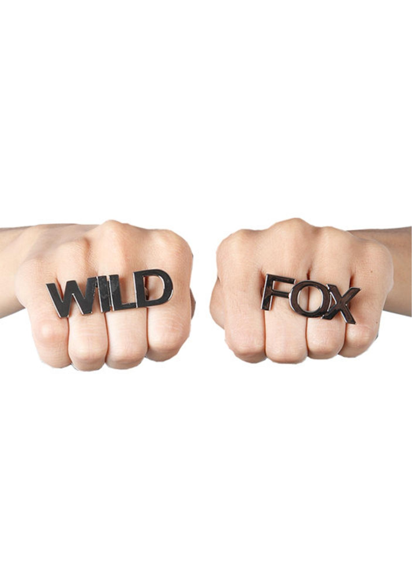 Wildfox Couture Black Hematite Wildfox Double Ring Set