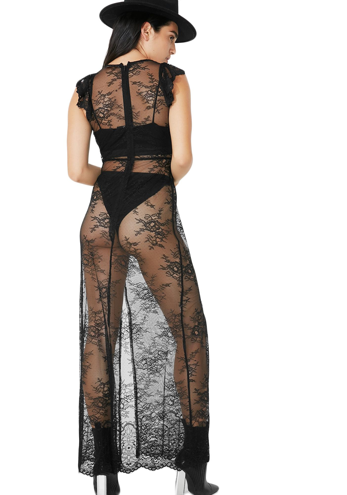 Deep Dark Lace Maxi Dress