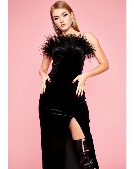 Private Showing Marabou Dress