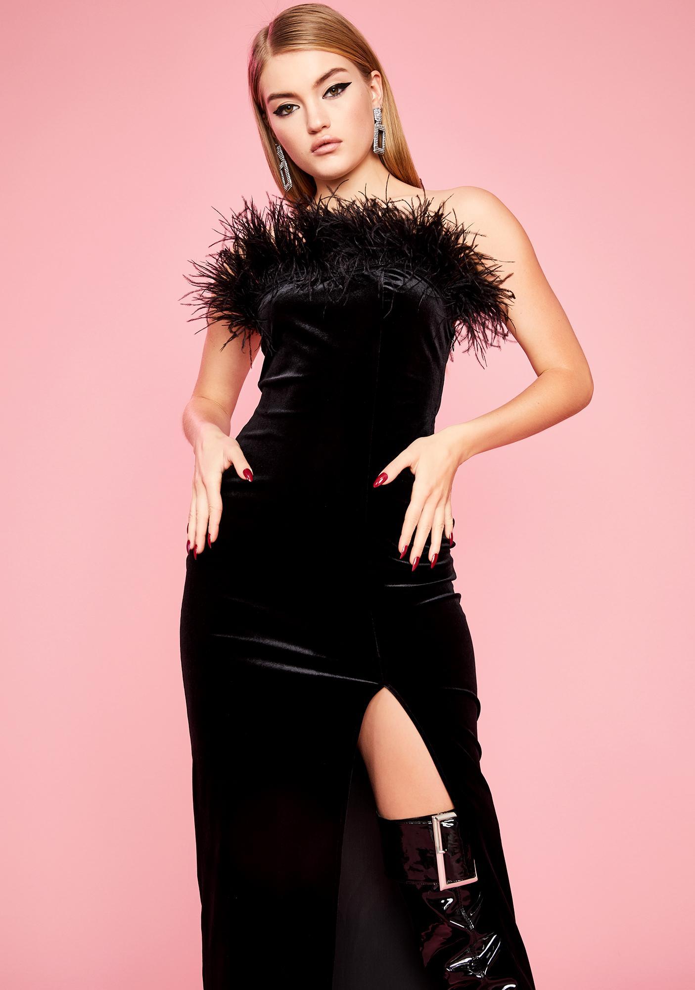 Sugar Thrillz Private Showing Marabou Dress