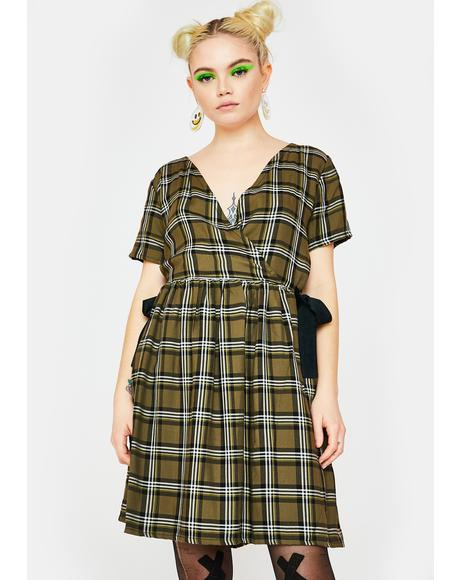 Wrap It Up Check Dress