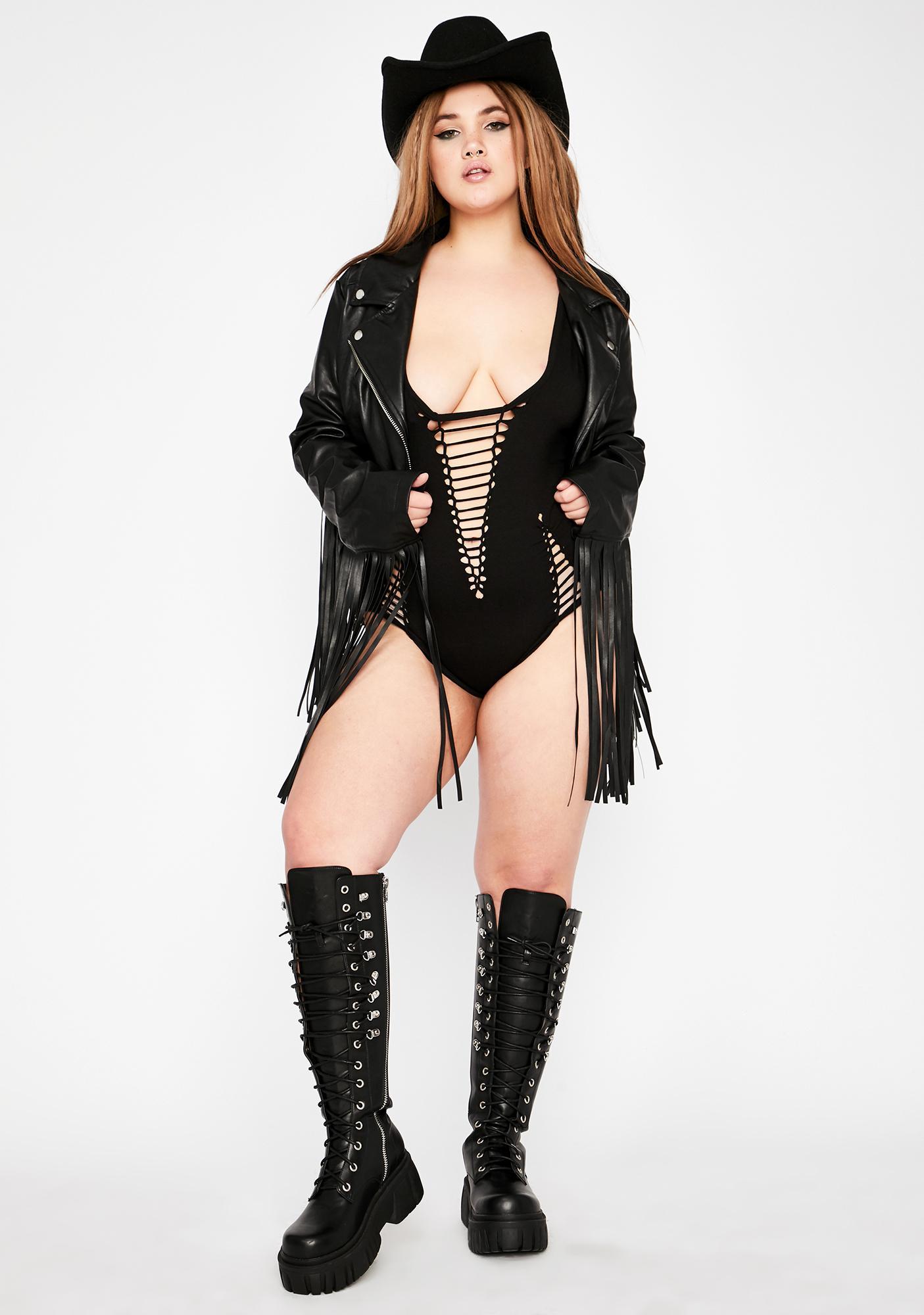 Club Exx Mz Ride The High Shredded Bodysuit