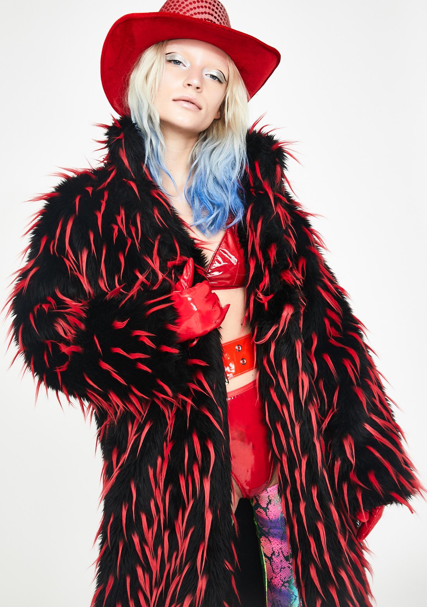 J Valentine Red Tipped Faux Fur Coat