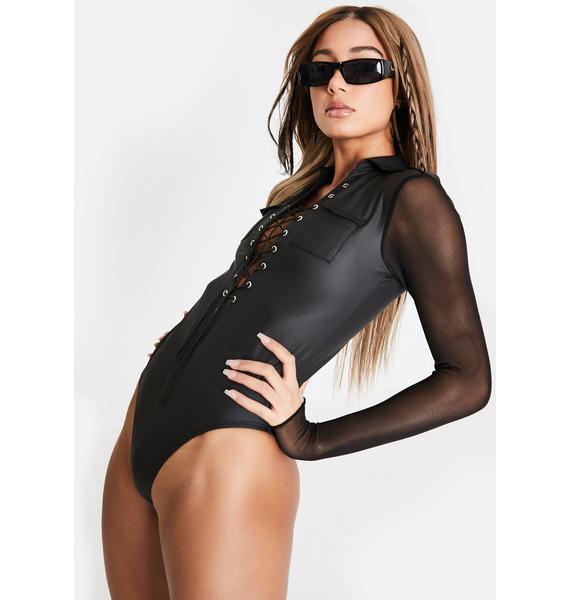 Club Exx Gone Commando Lace-Up Bodysuit