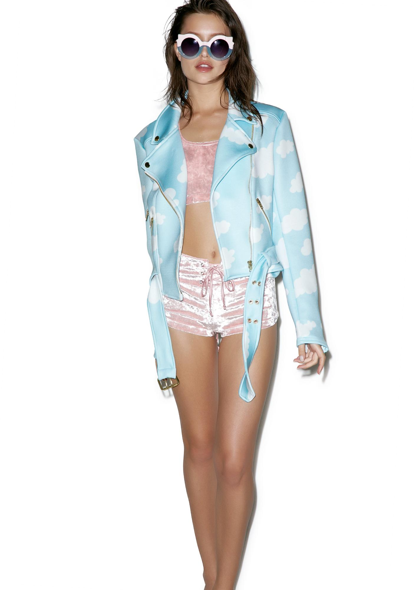 Sugarpills Neoprene Cloudy Moto Jacket