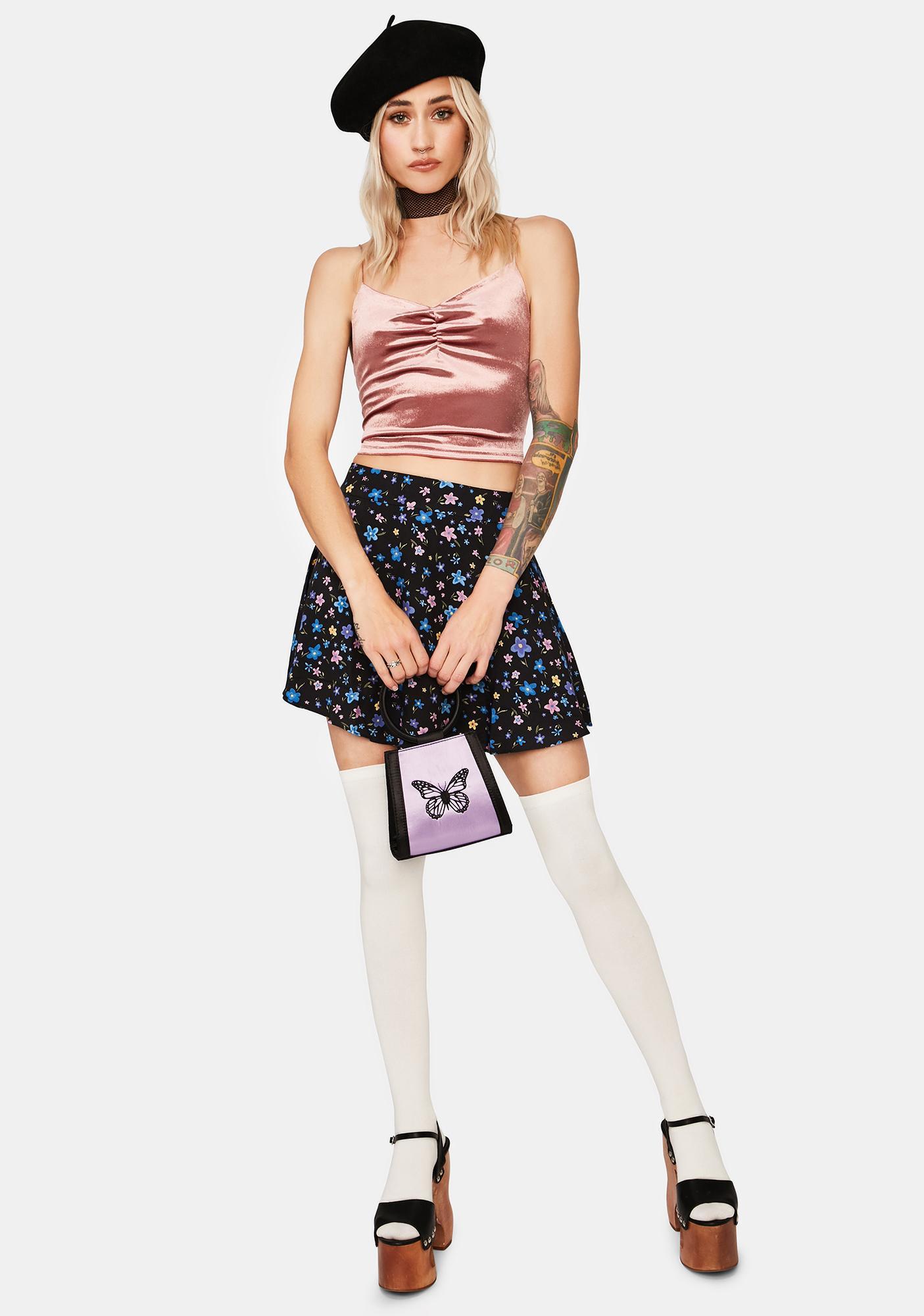 Momokrom Pink Velvet Ruched Cami Tank