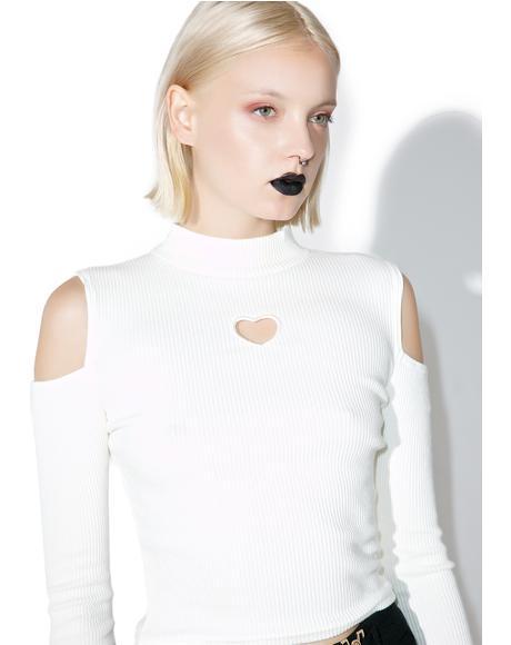 Heart Cutout Long Sleeve Top